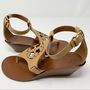 Tory Burch Zoey Wedge Sandals 5M Sand Leather